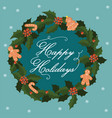 postcard with a christmas wreath and gingerbread vector image vector image