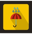 Red umbrella and rain drops icon flat style vector image vector image