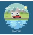 Road trip flat design camper vector image