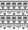 scandinavian hearts seamless pattern folk vector image vector image