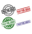 scratched textured pray for jesus seal stamps vector image