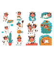 set cartoon bulls in different poses isolate vector image