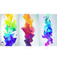 set of abstract vertical facet banners 3d vector image vector image