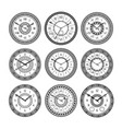 set of vintage clocks monochrome pictures vector image