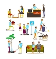 set of volunteers icons isolated flat vector image