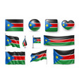 set south sudan flags banners banners symbols vector image