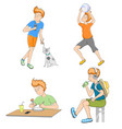 set young man cartoon scene vector image vector image