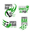 sport pub icon with soccer ball and football gate vector image vector image