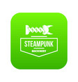 steampunk machinery icon green vector image