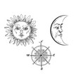 sun and moon with face engraving style vector image