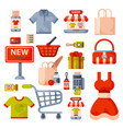 supermarket grocery shopping retro cartoon icons vector image vector image