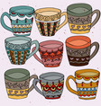 tea cups set doodle vector image