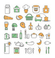 thin line art style design food icon set vector image vector image