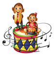 Two monkeys above a big drum vector image