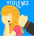 violence man beating crying woman stop violence vector image