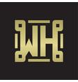 wh logo monogram with piece line art design vector image vector image