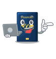 with laptop blue passport in the cartoon form vector image vector image