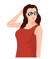 young beautiful girl in sunglasses vector image vector image