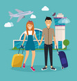 young couple traveling with travel bag holding vector image