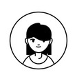 young woman character person block line vector image vector image