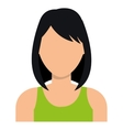 Young woman profile with dark hair and green vector image vector image