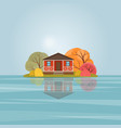 red wooden house on the lake vector image