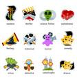 cinema genre icons set flat comedy drama vector image