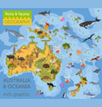 australia and oceania flora and fauna map flat vector image vector image