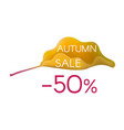 autumn sale on yellow cartoon leaf vector image