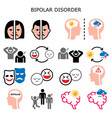 bipolar disorder color icons mental health vector image vector image