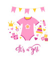 birth of a girl hand drawn doodle vector image