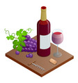 bottle red wine bunches wine grapes and vector image