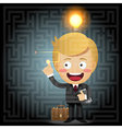 businessman solving the solution of labyrinth vector image
