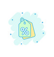 cartoon discount shopping tag icon in comic style vector image