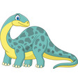 cartoon smiling brontosaurus vector image vector image
