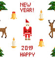 colorful pixel pattern with christmas elements vector image