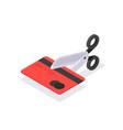cutting credit card scissors cutting bank card vector image
