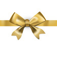 decorative golden bow with glossy long ribbon vector image vector image