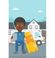 Delivery man with cardboard boxes vector image vector image