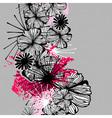 Doodle seamless flower ink pattern vector image vector image