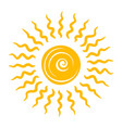 drawn yellow sun cute bright shiny icon vector image
