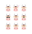 emotions cow set vector image vector image