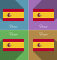 Flags Spain Set of colors flat design and long vector image vector image