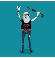 Forever young Funny old rock fan Active senior vector image vector image