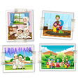 Four photo frames of muslim family vector image vector image