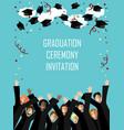 graduation poster with happy graduates vector image vector image