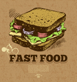 Hand drawn vintage fast food background vector image vector image