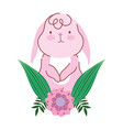 happy easter pink bunny flower leaves celebration vector image