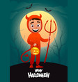 happy halloween cartoon character costume devil vector image