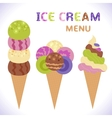 Ice cream menu with icons vector image